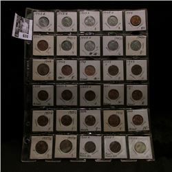 30-pocket plastic page full of 1943S to 55S Lincoln Cents, many of which are uncirculated. A nice gr
