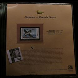 2005 $5.00 Alabama Waterfowl Stamp depicting the Canada Goose, Absolute mint condition with literatu