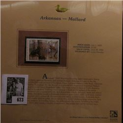 2005 $7.00 Arkansas Waterfowl Stamp depicting the Mallard, Absolute mint condition with literature a