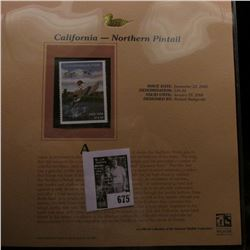 2005 $14.20 California Waterfowl Stamp depicting the Northern Pintail, Absolute mint condition with