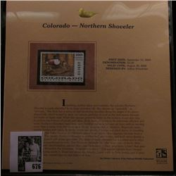 2005 $5.00 Colorado Waterfowl Stamp depicting the Northern Shoveler, Absolute mint condition with li