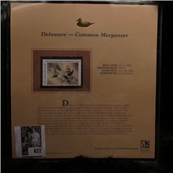 2005 $9.00 Delaware Waterfowl Stamp depicting the Common Merganser, Absolute mint condition with lit