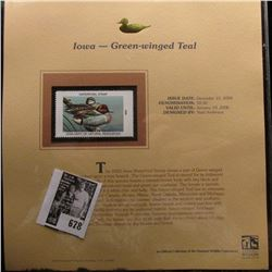 2005 $8.50 Iowa Department of Natural Resources Waterfowl Stamp depicting the Green-winged Teal, Abs