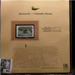 2005 $7.50 Kentucky Waterfowl Stamp depicting the Canada Goose, Absolute mint condition with literat