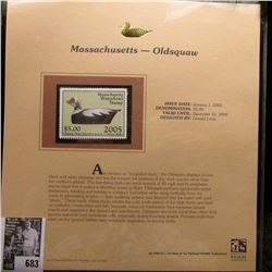 2005 $5.00 Massachusetts Waterfowl Stamp depicting the Oldsquaw, Absolute mint condition with litera