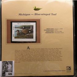 2005 $5.00 Michigan Waterfowl Stamp depicting the Blue-winged Teal, Absolute mint condition with lit