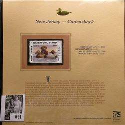 2005 $5.00 New Jersey Waterfowl Stamp depicting the Canvasback, Absolute mint condition with literat