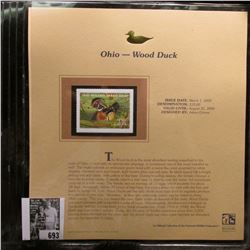 2005 $15.00 Ohio Waterfowl Stamp depicting the Wood Duck, Absolute mint condition with literature an