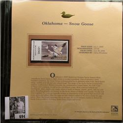 2005 $10.00 Oklahoma Waterfowl Stamp depicting the Snow Goose, Absolute mint condition with literatu