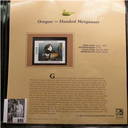 2005 $7.50 Oregon Waterfowl Stamp depicting the Hooded Merganser, Absolute mint condition with liter