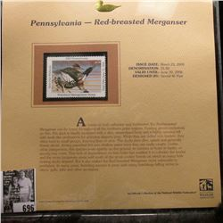 2005 $5.50 Pennsylvania Waterfowl Stamp depicting the Red-breasted Merganser, Absolute mint conditio