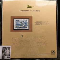 2005 $10.00 Tennessee Waterfowl Stamp depicting the Mallard, Absolute mint condition with literature