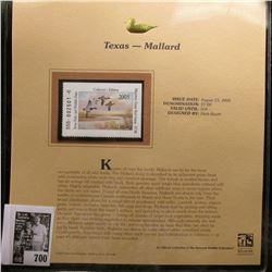2005 $7.00 Texas Waterfowl Stamp depicting the Mallard, Absolute mint condition with literature and