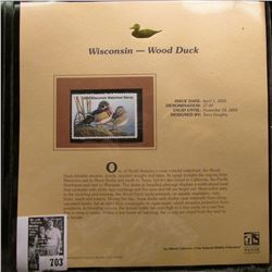 2005 $7.00 Wisconsin Waterfowl Stamp depicting the Wood Duck, Absolute mint condition with literatur