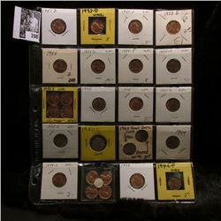 20-pocket plastic page of (27) Mostly Uncirculated to BU Lincoln Cents dating 1944 P to 60 P & D sma