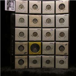 20-pocket plastic page of Silver BU Roosevelt Dimes including dates 1946 D to 1956 D. (20 pcs.).