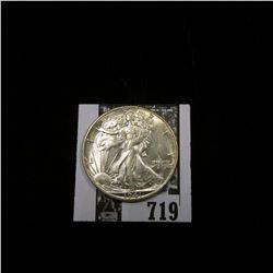 1941 D Walking Liberty Half Dollar, Choice AU.