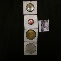 """""""Dewey Warren"""" Pin-back; """"Friendly Indians Warrior"""" Pin-back; """"Pokemon"""" Brass medal; & 1922 D U.S. P"""