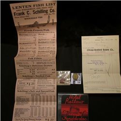 """""""Hotel Retlaw Fond du Lac Wisconsin"""" Label; 1928 """"Lenten Fish List""""; """"Chicago=Rockford hosiery Co.,"""