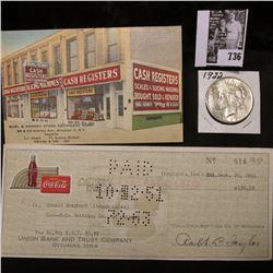 """Burl & Kenney Store Equipment Corp"" advertising card; 1951 Coca-Cola check from Ottumwa, Iowa; & 19"