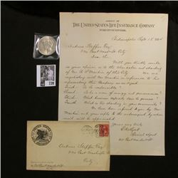 """1894 Letter and envelope from the """"United States Life Insurance Co.""""; & 1922 P U.S. Silver Peace Dol"""