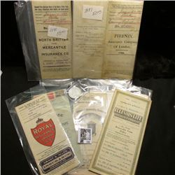 Several 1897-1930 pieces of literature and policies from various Insurance Companies. 'Doc' valued s