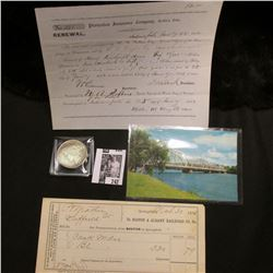 """Wisconsin River"" Post card; 1875 Invoice ""To Boston & Albany Railroad Co.""; 1852 ""Protection Insura"
