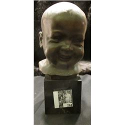 """Heavy Bronze Bust of a babies' head. 8 1/4"""" bronze on marble. Signed on back """"Michieli""""."""