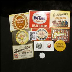 """(7) different Mint condition Beer Bottle labels; (3) different pin-backs including a """"Milkman's Club"""