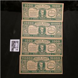 """Mint set of four different """"Movie Mart Currency"""", denominations include $1000, $5000, $10000, & $500"""