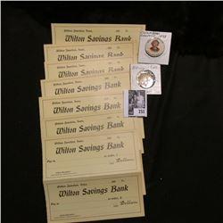 "(14) Blank Counter Checks (1900 era) from ""Wilton Junction, Iowa Wilton Savings Bank""; ""Plamor/Billi"