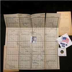 """Road Map of Clay County, Iowa"" 1918 era; ""Langdon Bakery/Widow's/Mite/Cincinnati"", ""Smallest Ever C"