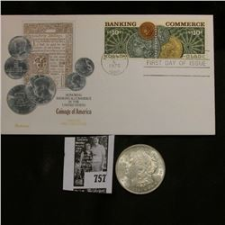 """Coinage of America"" First Day Stamped and cancelled Cover; & 1921 P U.S. Morgan Silver Dollar, Gem"