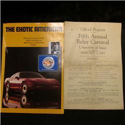 "Circa 1984 Corvette Brochure; Feb. 1925 ""Official Program Fifth Annual Relay Carnival University of"