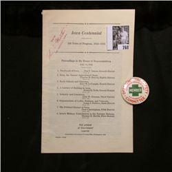 """1846-1946 """"Iowa Centennial 100 Years of Progress"""" Brochure; & a Celluloid pin-back """"Departementakl S"""