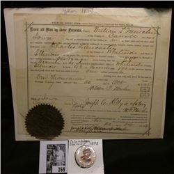 "1874 Carroll County, Iowa Mortgage Release with Seal; & an 1893 celluloid Pin-back ""Columbian Souven"