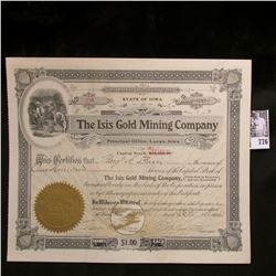 "Stock Certificate for 100 Shares ""The Isis Gold Mining Company"", Principal Office, Lucas, Iowa, Octo"