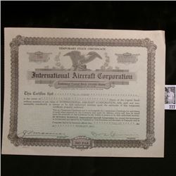 "Temporary Stock Certificate for 5 Shares ""International Aircraft Corporation"", 1934, State of Delawa"
