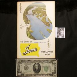 "1957 ""Greetings The State of Iowa Welcomes You"" Handbook with 95 pages; & a Crisp Uncirculated Serie"