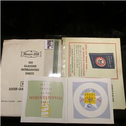 Iowa Sesquicentennial Debut invitation; (2) packages of Stamp Supplements; 1910 Tobacco Stamp, mint