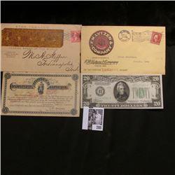 """1901 """"Continental Tobacco Company"""" Scrip; 1909 Clinton, Iowa Cancelled cover from """"F.M. Lytzen & Com"""