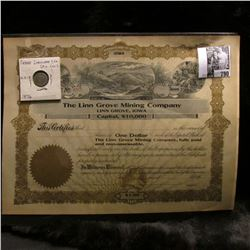 "Blank Stock Certificate ""The Linn Grove Mining Company Linn Grove, Iowa"", mountainous region in cent"
