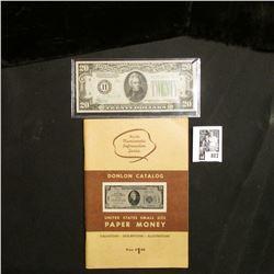 """Donlon Catalog United States Small Size Paper Money"" & a Crisp Uncirculated Series 1934 $20 St. Lou"