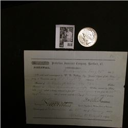 """1854 Receipt for """"Protection Insurance Company, Hartford, Ct."""" & 1924 P U.S. Peace Silver Dollar, Ch"""