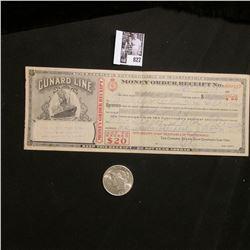"1925 P U.S. Peace Silver Dollar, Choice AU; & a 1929 Money Order ""Cunard Line"" depicting a Steam Shi"