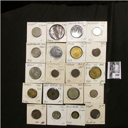 Group of (20) various foreign coins in cardboard holders, all attributed.