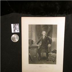 1925 P U.S. Peace Silver Dollar, Choice BU & a black and white print of Alexander Hamilton with a co