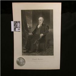 1897 P Morgan Silver Dollar Brilliant Uncirculated; and a black & white print of Daniel Webster, wit