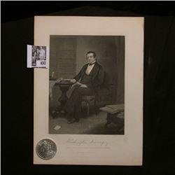 1883 O Morgan Silver Dollar Brilliant Uncirculated; and a black & white print of Washington Irving,