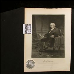 1884 O Morgan Silver Dollar Brilliant Uncirculated; and a black & white print of George Morris?, wit
